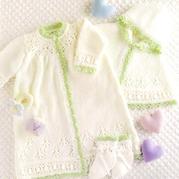 清新可爱宝宝棒针礼服裙斗篷袜子三件套