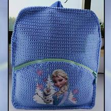 艾莎烫画书包 创意钩编儿童双肩拉链背包