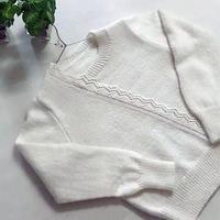 初雪 原创女士棒针蕾丝花边装饰圆领羊绒衫