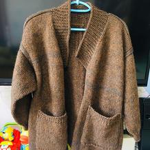 中粗驼绒马海女士棒针外套开衫毛衣