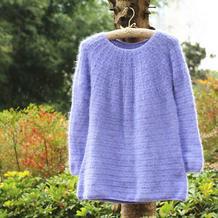 丁香 从上往下钩浅紫色女士钩针圆肩毛衣
