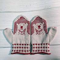 萌可爱棒针北极熊提花连指手套