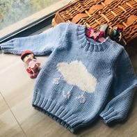 蓝天白云(2-2)儿童棒针卡通图案套头毛衣编织视频