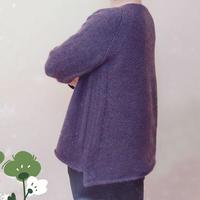 缘紫 仿杂志款织基本不用缝合的女士棒针套头毛衣