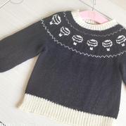 从领口往下织儿童棒针提花毛衣