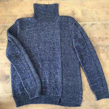 不对称扭螺纹圈织女士棒针高领毛衣