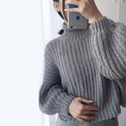 闪丝空心马海女士钩针短款灯笼袖套头毛衣