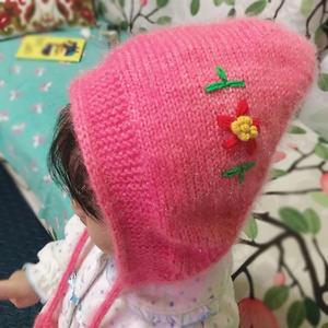 仙女护耳帽  儿童棒针系带精灵帽