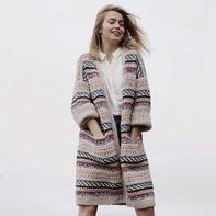 梅尔奇 北欧风女士棒针粗线配色大衣