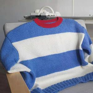 LK150机织云纹线宽条纹女士毛衣