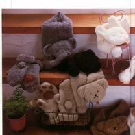 大象兔子小熊动物造型儿童棒针绒绒线围巾与手套