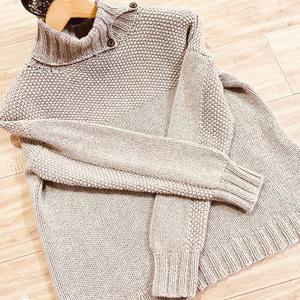 艾米 仿淘宝款女士休闲宽棒针桂花针高领毛衣