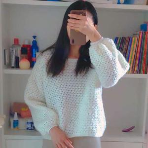 休闲宽松女士钩针白色简约风灯笼袖套头衫