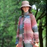 長段漸變色鉤織結合女士連帽長開衫