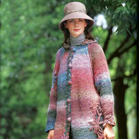 长段渐变色钩织结合女士连帽长开衫