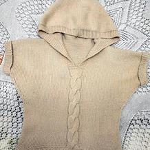 春秋款儿童棒针连帽短袖套衫