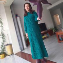 绿萝 女士棒针叶子花长袍裙