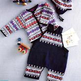 90-95cm棒针宝宝背带裤开衫与护耳帽套装兴旺xw115图解