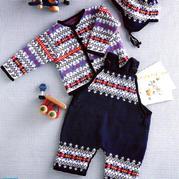 90-95cm棒针宝宝背带裤开衫与护耳帽套装编织图解