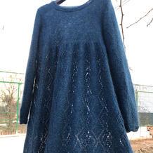 星空 女士棒针菱格镂空花长袍裙