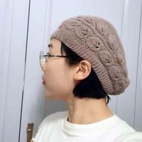 仿淘宝299的女士棒针羊绒树叶帽
