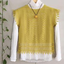 檬 柠檬黄色女士钩针蕾丝罩衫