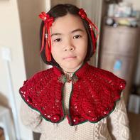 流朱 华丽珠饰云肩款中国风钩针披肩和流苏发饰