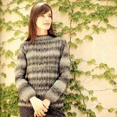 女士棒针菱形扭花小圆领套头毛衣(含M、L两个尺码数据)