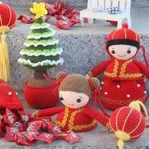 传统风格钩针福娃束口袋编织视频教程