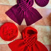 吉祥 女士棒针麻花贝雷帽及中国结围巾