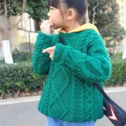 绿拧巴 男女都适合的儿童棒针羊驼绒宽松套头毛衣