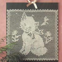 12号蕾丝钩针方格编小猫图案装饰