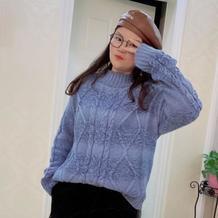 宽松休闲女士棒针菱形麻花套头毛衣