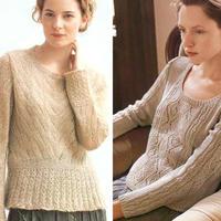 春款女士棒针真丝马海羊毛低圆领套头毛衣2款
