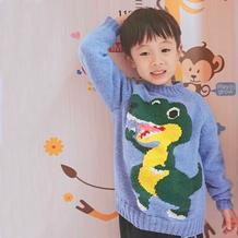 男童棒针恐龙图案插肩毛衣