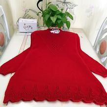 本命年红毛衣 中老年棒针幸福结花样套头毛衣