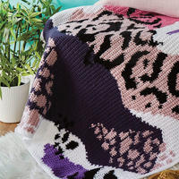 创意编织个性不规则图案流苏钩针毯子