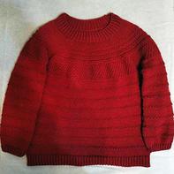 新年红女士棒针圆肩分散加针羊绒衫