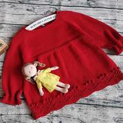 阳光热情正红色儿童棒针插肩娃娃裙