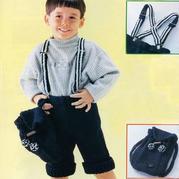 背帶也是手工織的帥氣兒童棒針翻邊短款背帶褲