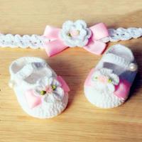 甜美公主系宝宝鞋与发带(3-2)毛线钩编宝宝鞋编织视频教程