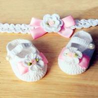 甜美公主系宝宝鞋与发带(3-3)毛线钩编宝宝头饰编织视频教程