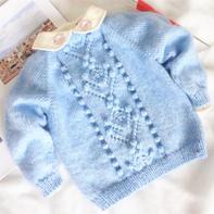 南瓜团套头衫 从领口往下织儿童棒针插肩毛衣编织视频