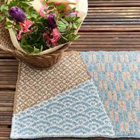 彩色图案和风棒针双面提花餐垫杯垫
