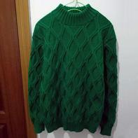 颖 仿潘华尔姿改版大童棒针菱形立体花型中高领套头毛衣