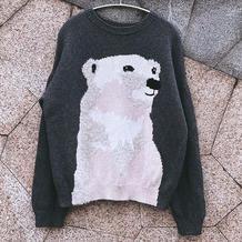 熊出没 东海改版男士棒针北极熊嵌花毛衣