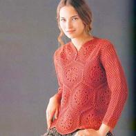 女士钩织结合领开扣套头毛衣