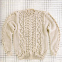 混纺羊毛粗针织男士棒针圆领套头毛衣(含M/L/LL三组编织数据)