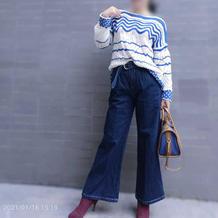 惊艳中国风 仿大牌青花瓷元素女士棒针一字领套衫
