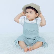 小布丁(2-1)婴幼儿棒针系带哈衣爬服编织视频教程